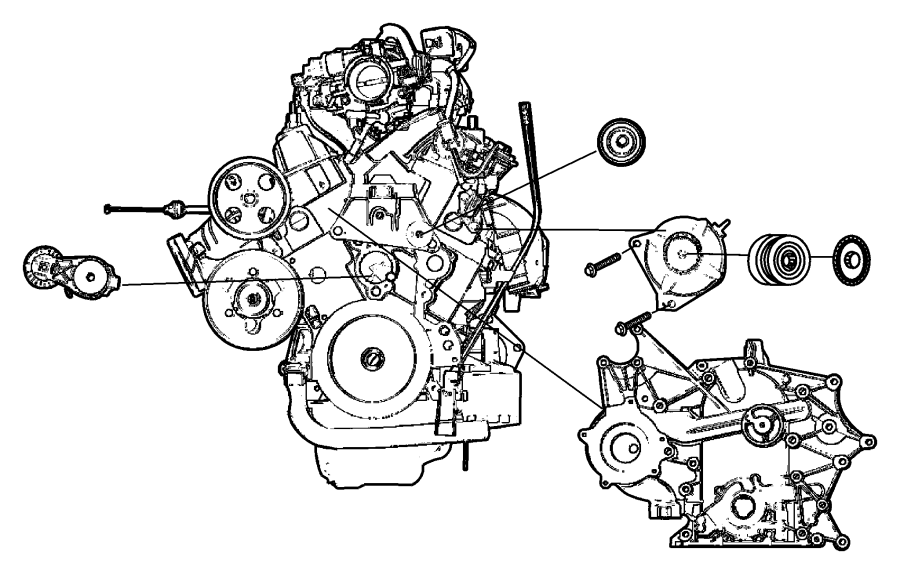 2006 Dodge Grand Caravan Cover Timing Engine Engine Oil